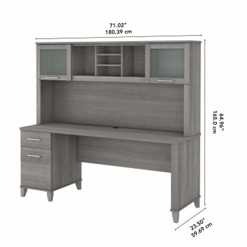 72W Office Desk with Drawers and Hutch