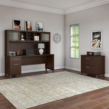 72W Office Desk with Hutch and Lateral File Cabinet