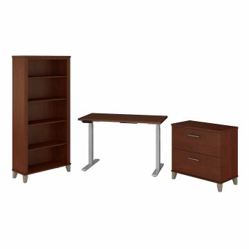 48W Electric Adjustable Standing Desk with File Cabinet and Bookcase