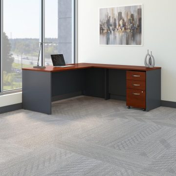 72W L Shaped Desk with 48W Return and Mobile File Cabinet