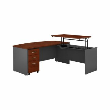 72W x 36D Bow Front Sit to Stand L Desk with Drawers