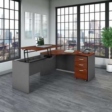 60W x 43D Left Hand Sit to Stand L Desk with Drawers
