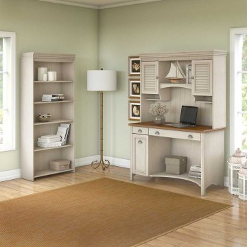 Computer Desk with Hutch and 5 Shelf Bookcase