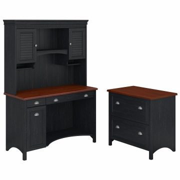 Computer Desk with Hutch and 2 Drawer Lateral File Cabinet