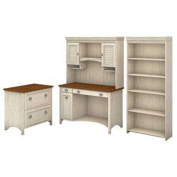 Computer Desk with Hutch, Bookcase and Lateral File Cabinet