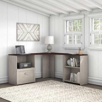 Corner Desk with Bookcase and File Cabinet
