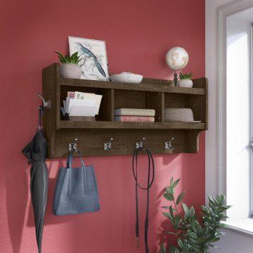 40W Wall Mounted Coat Rack with Shelf