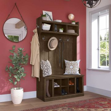 40W Hall Tree and Shoe Storage Bench with Shelves
