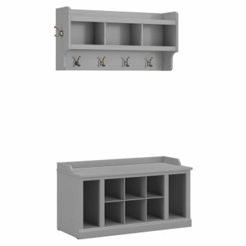 40W Shoe Storage Bench with Shelves and Wall Mounted Coat Rack