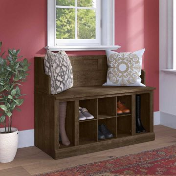 40W Entryway Bench with Shelves