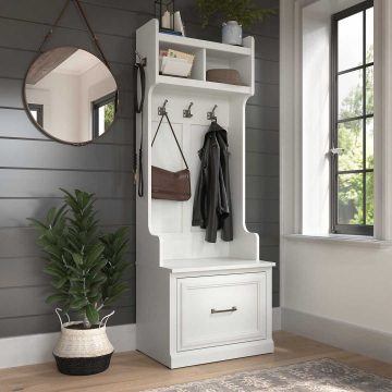 24W Hall Tree and Small Shoe Bench with Drawer