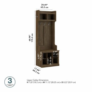 24W Hall Tree and Small Shoe Bench with Shelves