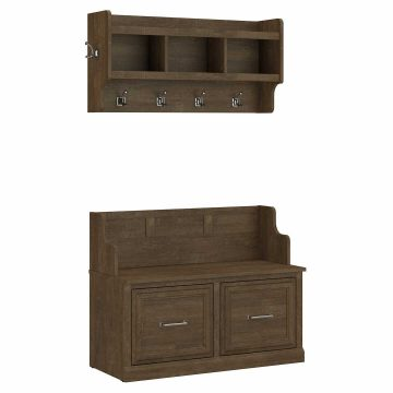 40W Entryway Bench with Doors and Wall Mounted Coat Rack