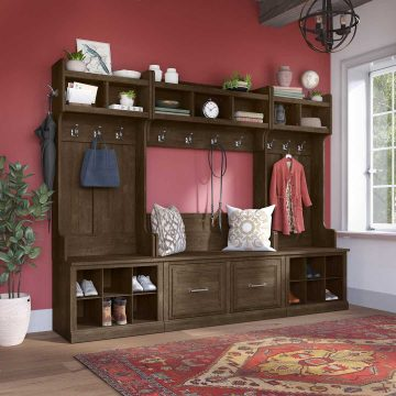 Full Entryway Storage Set with Coat Rack and Shoe Bench with Doors