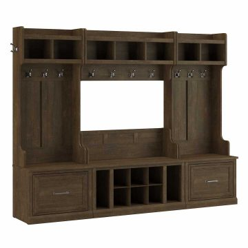 Full Entryway Storage Set with Coat Rack and Shoe Bench with Drawers