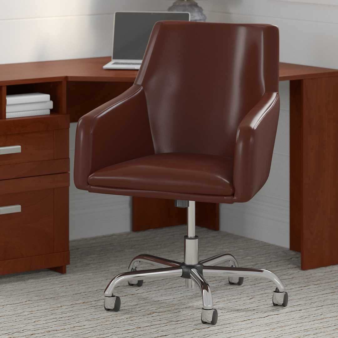 Mid Back Leather Box Chair