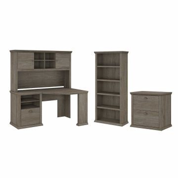 60W Corner Desk with Hutch, Lateral File Cabinet and 5 Shelf Bookcase