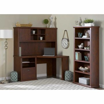 60W Corner Desk with Hutch and 5 Shelf Bookcase