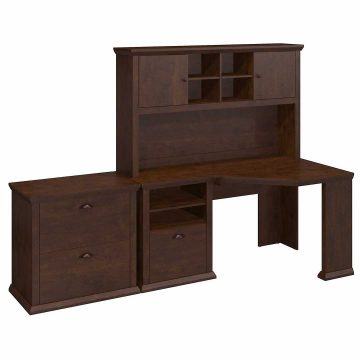 60W Corner Desk with Hutch and Lateral File Cabinet
