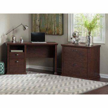 50W Home Office Desk with Lateral File Cabinet