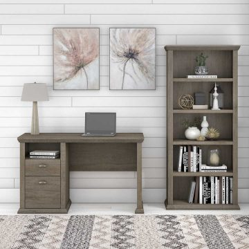 50W Home Office Desk with 5 Shelf Bookcase