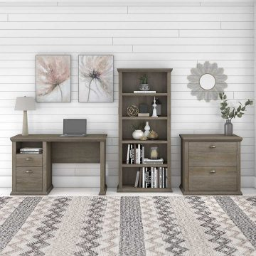 50W Home Office Desk with Lateral File Cabinet and 5 Shelf Bookcase