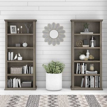 Tall 5 Shelf Bookcase Set of 2