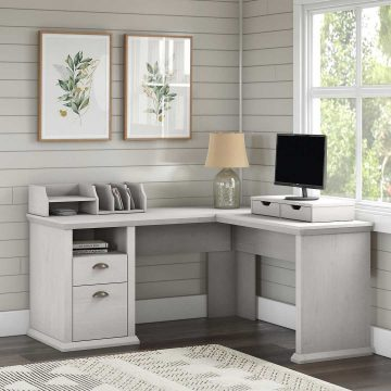 60W L Shaped Desk with Storage and Organizers